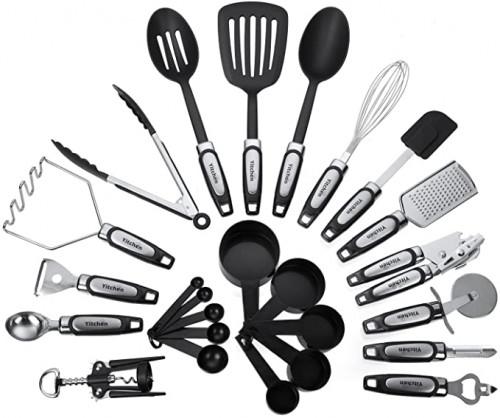 7. Stainless Steel and Nylon Kitchen Utensils Set
