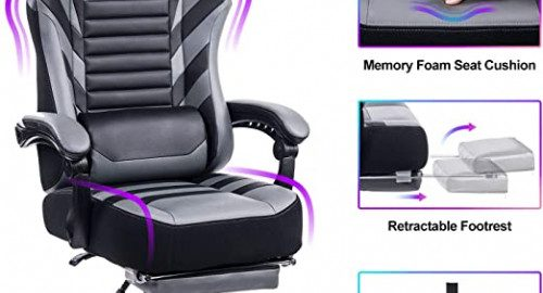 5. VON RACER Big & Tall 400lb Memory Foam Reclining Gaming Chair Metal Base