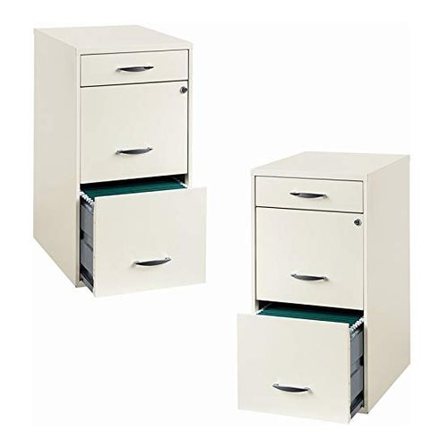 Home Square Metal 3 Drawer File Cabinet